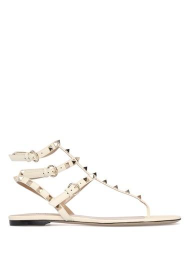 Valentino %100 Deri Sandalet Beyaz